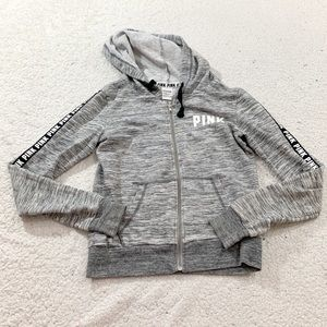 Vs pink gray full zip hoodie sweatshirt